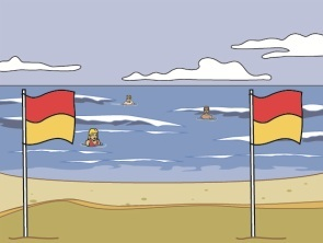 Always swim between the flags
